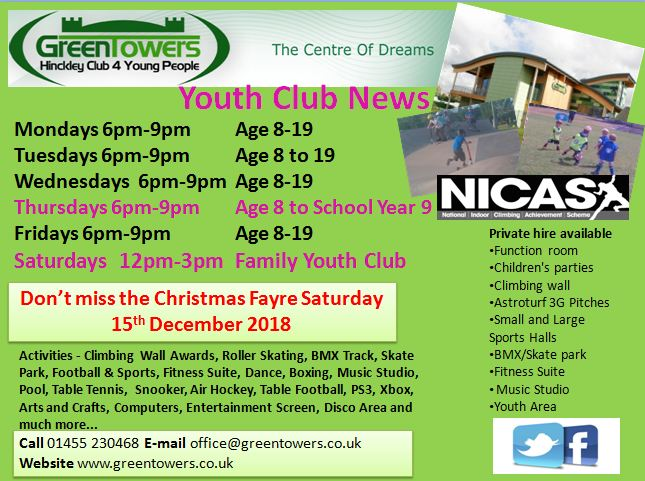 Youth Club Opening Times Update Oct 2018