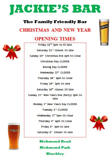 Opening Times xmas 2017